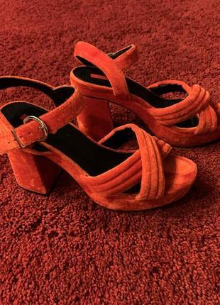 Красно-морковные туфли босоножки topshop