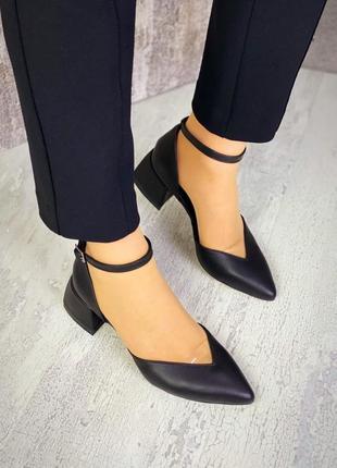 36-40 рр туфли женские шикарные изящные на каблуке кожаные цвет чёрный