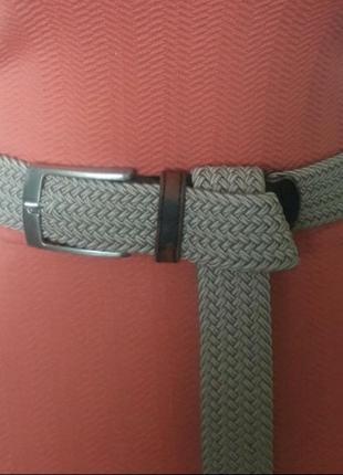 Ремень пояс резиновый резинка плетеный беж универсальный размер