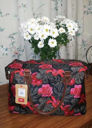Вместительная дорожная сумка с короткими ручками и цветочным принтом коттон