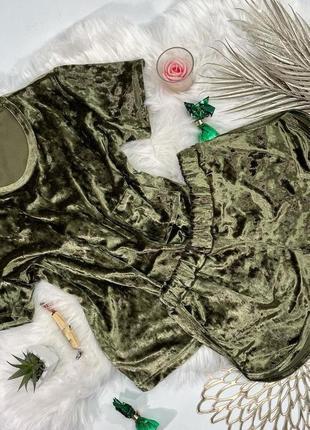 Велюровая пижама футболка шорты пижама велюр хаки