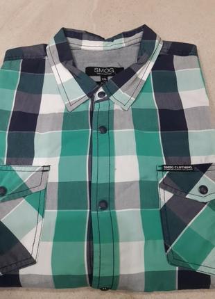 Мужская рубашка в клеточку с коротким рукавом от smog!