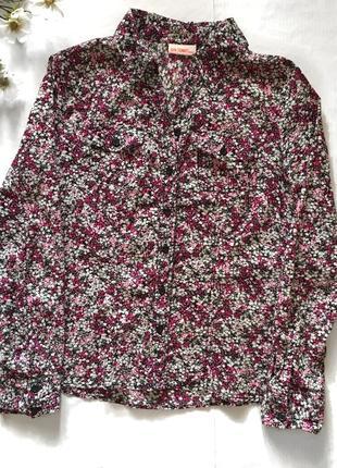 Женская сиреневая рубашка в цветочный принт цветочек 100% коттон
