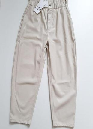 Кожаные брюки zara original spain9 фото