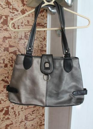 Женская деловая серая сумка