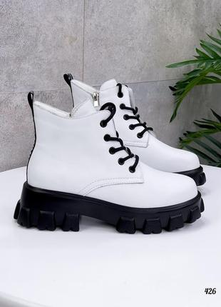 ❤демисезонные кожаные ботинки белого цвета ❤