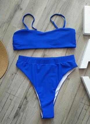 Синий купальник с высокой талией, яркий купальник с высокими плавками💙