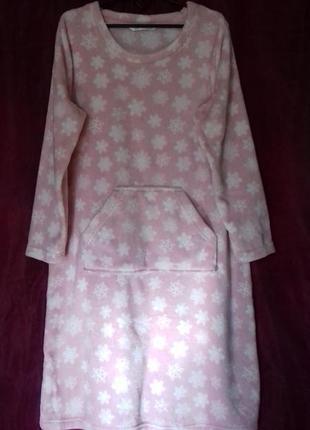 Тёплое мягинькое домашнее платье туника для дома и сна