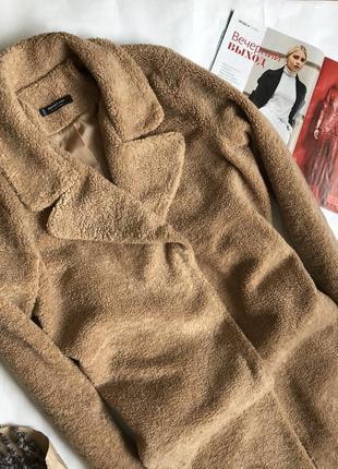 Шуба /пальто тедди оверсайз из эко меха mango.3 фото