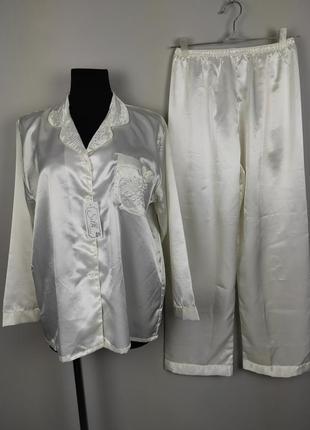Пижама шелковая новая белая красивая 100% шелк xl
