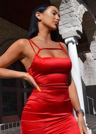 Сатиновое платье ярко-красное oh polly ❤️ сатинова червона сукня