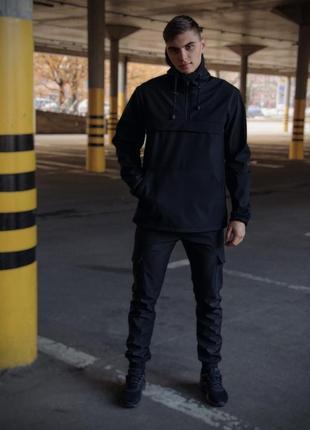 Комплект анорак softshell walkman черный + штаны softshell черные + ключница в подарок