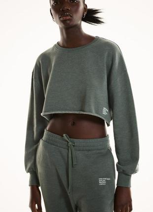 Укороченный теплый свитшот кофта худи джемпер зара