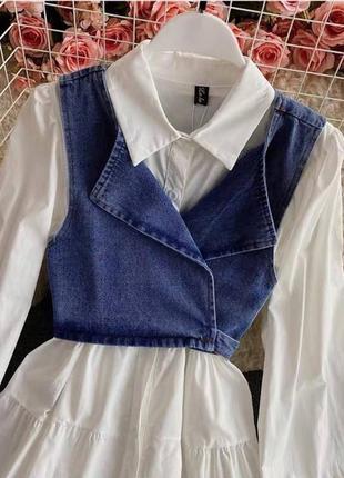 Стильное платье с джинсовым топом