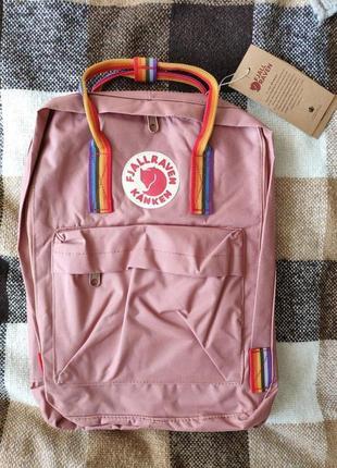 Рюкзак fjallraven kanken classic rainbow 16л розовый с радужными ручками сумка