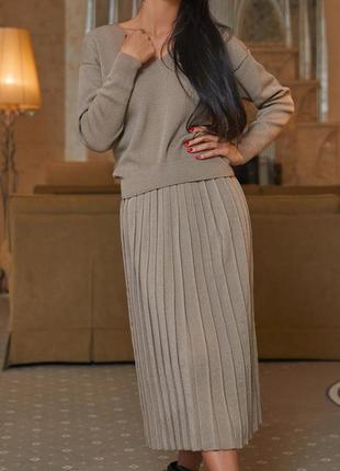 Плиссированная вязанная юбка р хс-с-м-л кофе