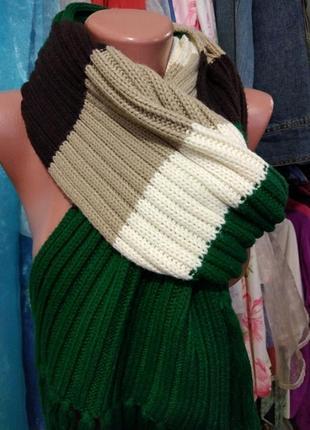 Вязанный четырехцветный полушерстянной длинный шарф edc by esprit