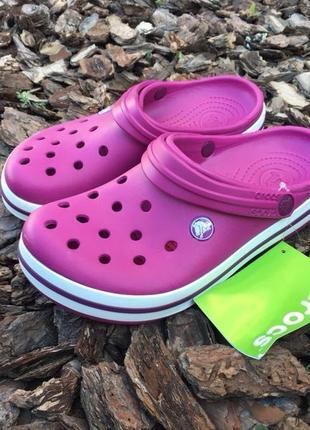 Кроксы crocs crocband raspberry 👩🏿🎤