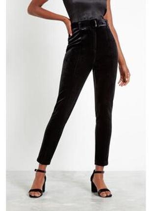 Тренд: бархатні велюрові штани скіни з поясом1 фото