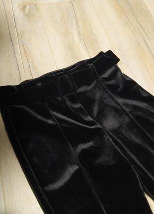 Тренд: бархатні велюрові штани скіни з поясом3 фото
