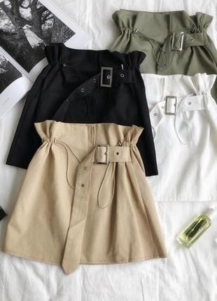 Коттоновая джинсовая юбка на талии с поясом на запах