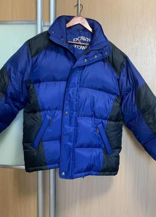Перо пух объемный дутый пуховик куртка оверсайз синий чёрный