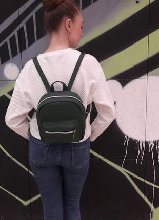 Супер стильний зелений  жіночий рюкзачок тренд сезона