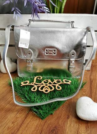 Мега стильна срібна сумка портфель від next🔥