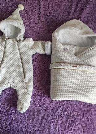 Утеплённый комбинезон для новорожденных + конверт на выписку«winter style»