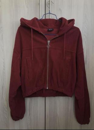 Трендовая вельветовая объемная укороченная красная оверсайз курточка