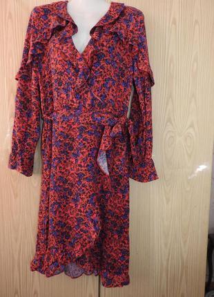 H&m платье на запах с цветочным принтом с оборками размер 34