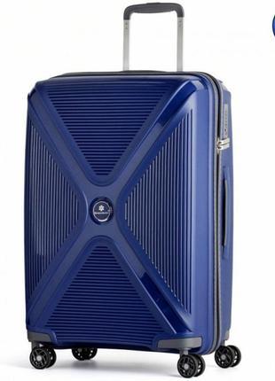 Качественный дорожный чемодан на колесах snowball 84803 синий, валіза