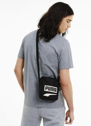 Сумка на плече месседжер puma plus барсетка оригінал чорна
