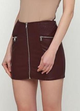 Мини юбка из экокожы