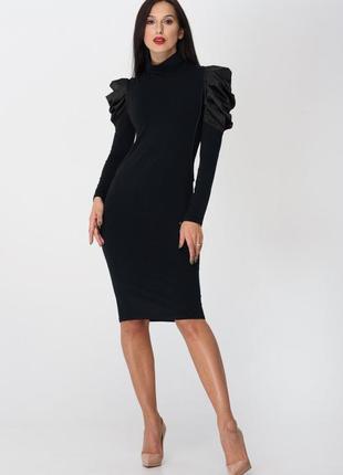 Трендовое чёрное платье, размер с-м. турция