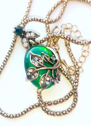 Кулон+цепочка в винтажном стиле, зеленая ветвь