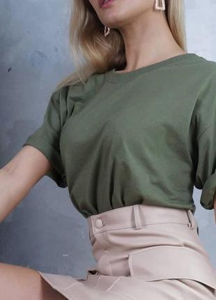 Базовая унисекс футболка оверсайз 100% хлопок оливковый fruit of the loom
