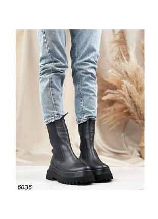 Чёрные ботинки боты ботиночки натуральная кожа высокие на высокой подошве  челси