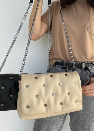 Стильна жіноча стьобана сумка з м'якої екошкіри