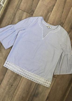 Хлопковая блуза в полоску next с объемными рукавами