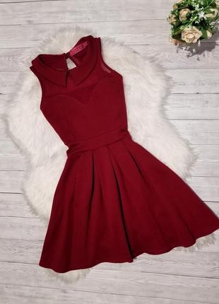Бордовое платье boohoo декольте сетка сукня плаття