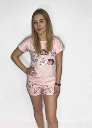 Пижама летняя женская хлопковая розовая котята
