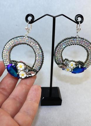 """Нежные серьги """"кольца с цветами"""" для девушек ручная работа"""