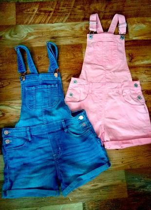Комбинезоны шорты джинсовые 7-11 лет, размер 146 см. denim.