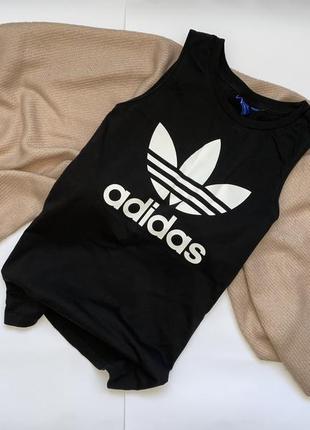 Базовая спортивная хлопковая черная удлиненная футболка, майка adidas (оригинал), p.s/m