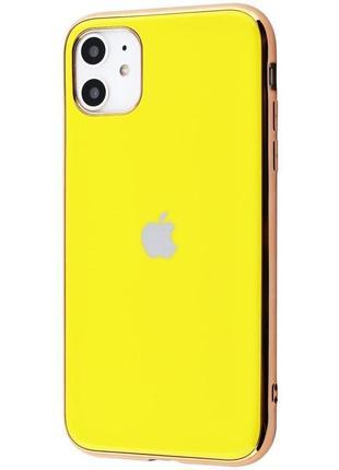 Чехол  silicone glass case iphone 11 (yellow)