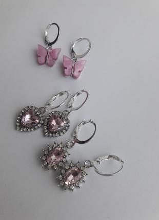 Серьги блестящие с камнями набор винтаж под серебро бабочки