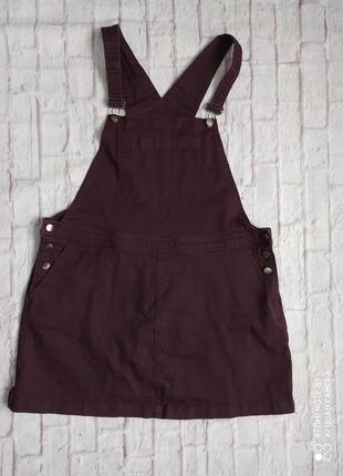 Стильный комбинезон комбез юбка сарафан джинсовый большого размера plus sais