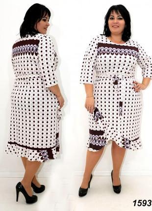 Шикарное весеннее платье в горошек батал