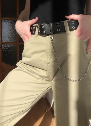 Штаны хлопковые цвета хаки mom fit / хакі штани бавовняні